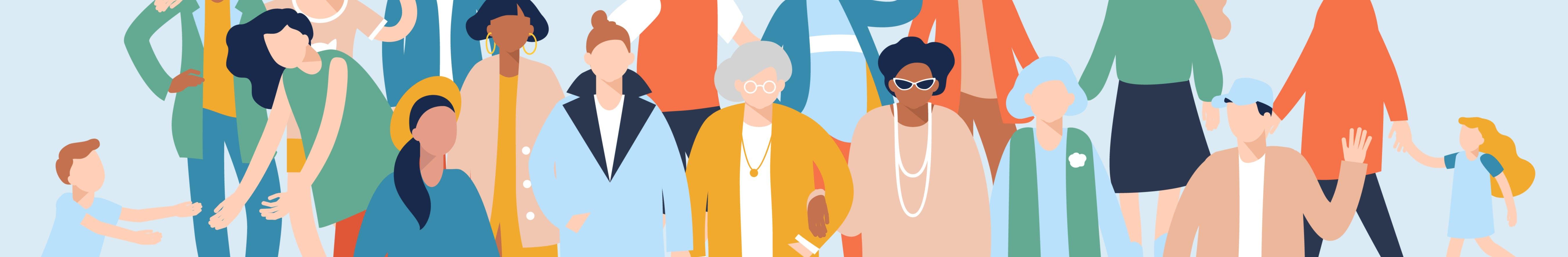 Digital illustration of community members