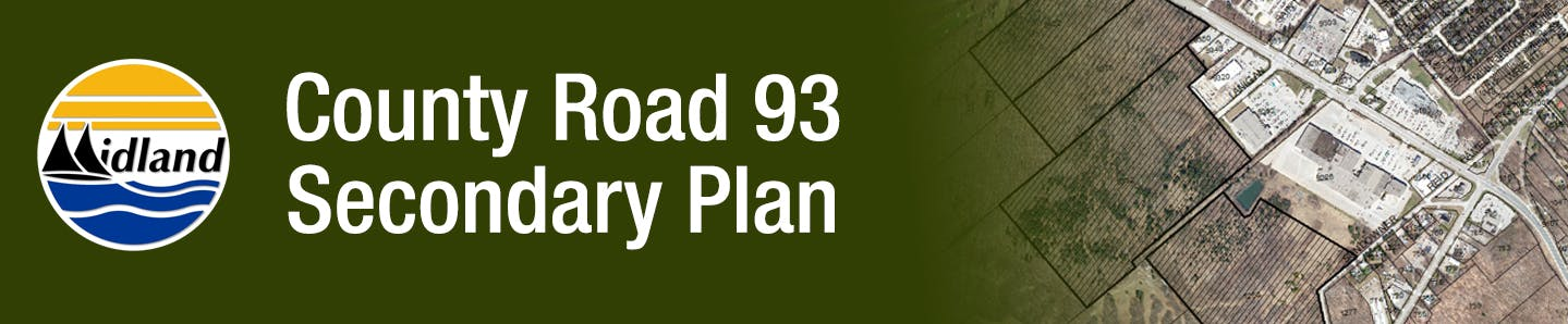 "Map with the Secondary Plan area bordered in black with the the word ""County Road 93 Secondary Plan"" and the Town of Midland logo"