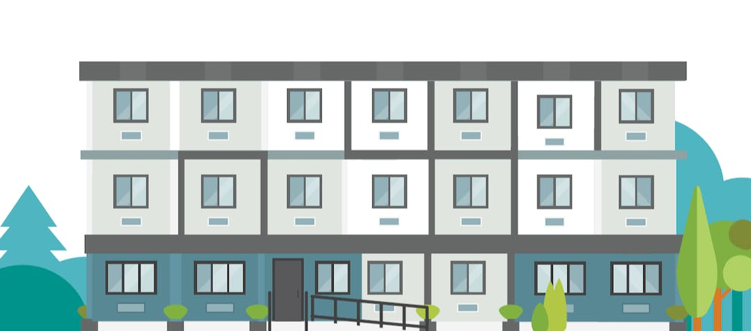 Illustration of supportive housing building