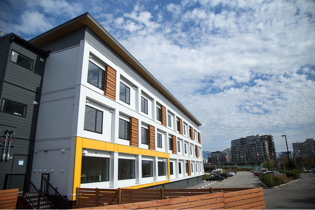 Modular style supportive housing building in the city of Vancouver.