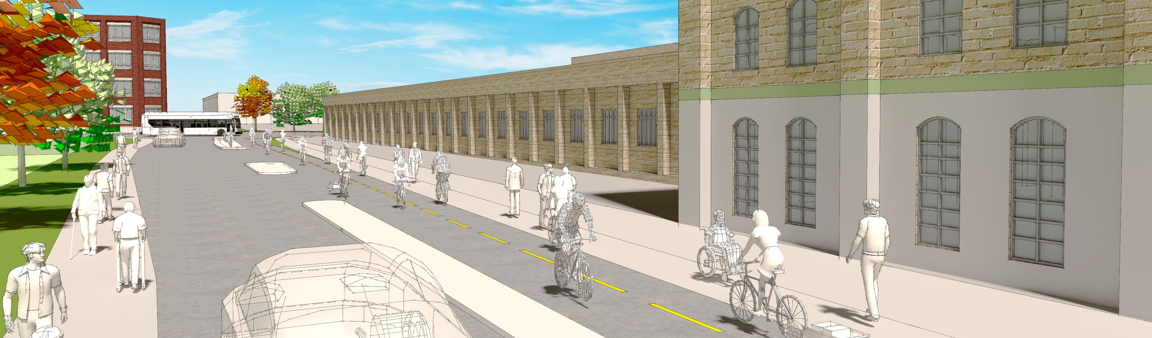 Street rendering of separated bike lanes on Joseph Street