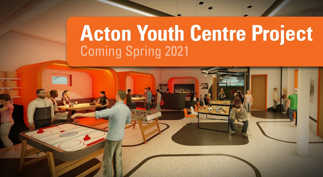 Digital rendering of the interior of the future Acton Youth Centre - coming Spring 2021