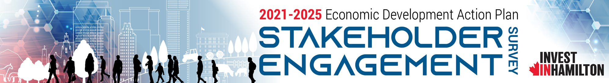 "Illustration of silhouettes of people on a background of cityscapes with text ""2021-2025 Economic Development Action Plan Stake Holder Engagement Survey"""