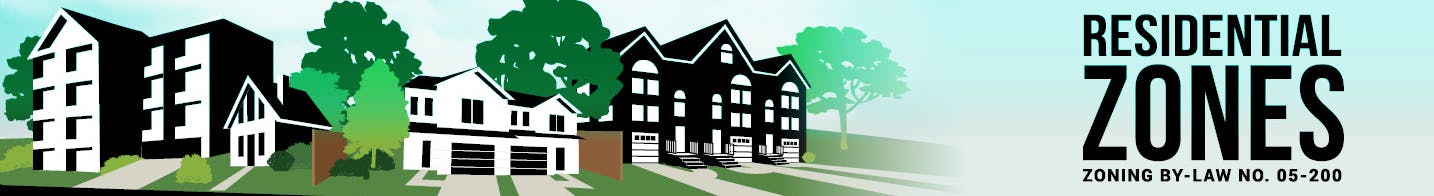 Illustration with houses and text Residential Zoning By-law