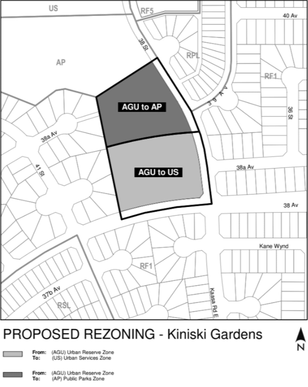 """A black and white line map showing the areas of rezoning and surrounding area, titled """"Proposed Rezoning - Kiniski Gardens""""."""