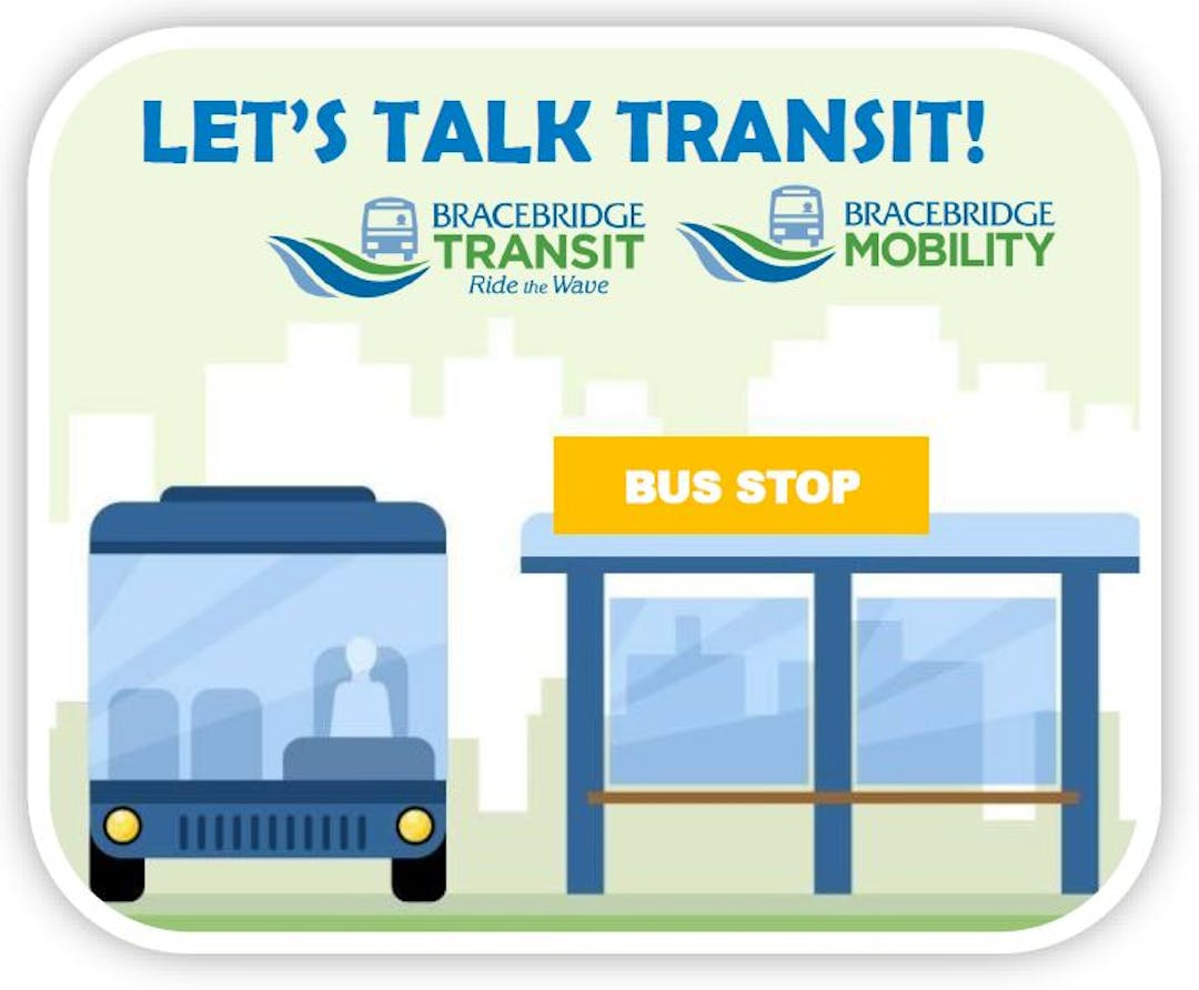 Vector image of blue transit bus stationed at bus stop.