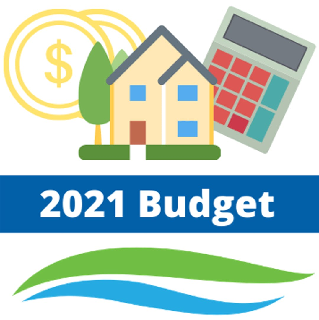 2021 Budget with house, money, and calculator