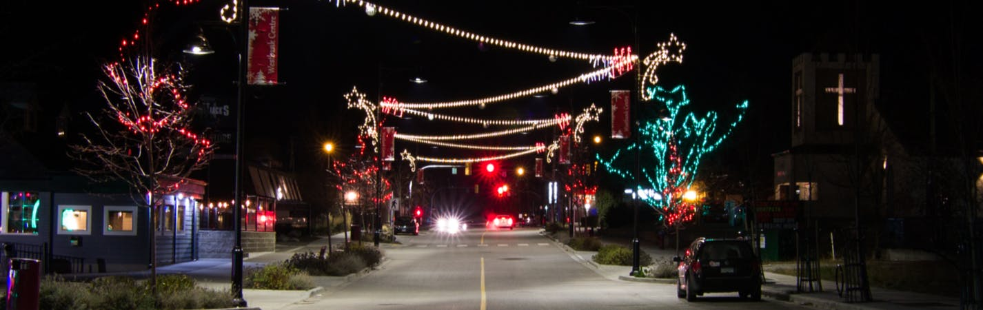 Brown Road at night with Christmas Lights on