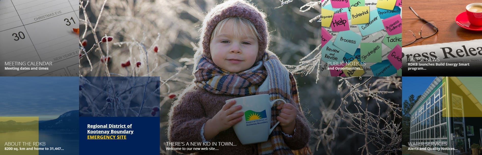 website banner showing girl wearing dusty rose toque and sweater with matching plaid scarf in frosty landscape holding a large mug of hot chocolate and various translucent squares with links to website information.