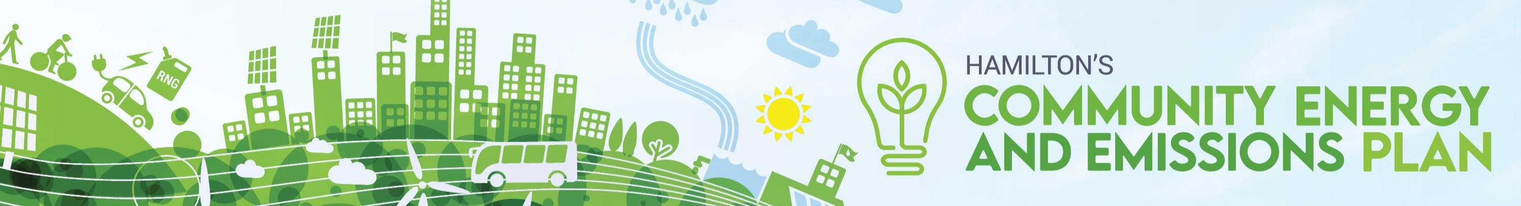 "Banner Design Illustration with text ""Hamilton's Community Energy and Emissions Plan"""