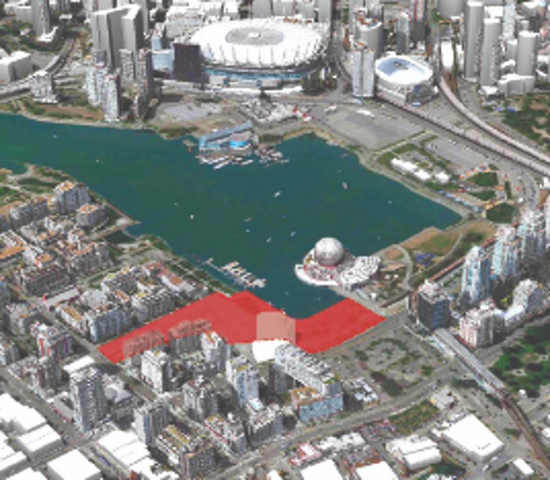 Aerial view of False Creek with project area highlighted in red