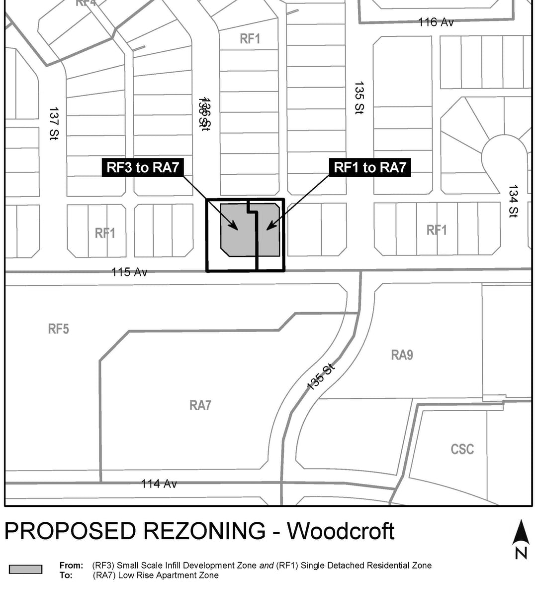 "a black and white map of the area around the property that is proposed to be rezoned (13512 and 13530 - 115 Avenue NW), with two grey boxes on the property, labelled ""RF3 to RA7"" and ""RF1 to RA7""."