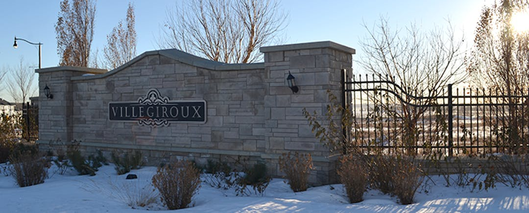 Image of the entrance sign to Ville Giroux in Saint Albert, Alberta