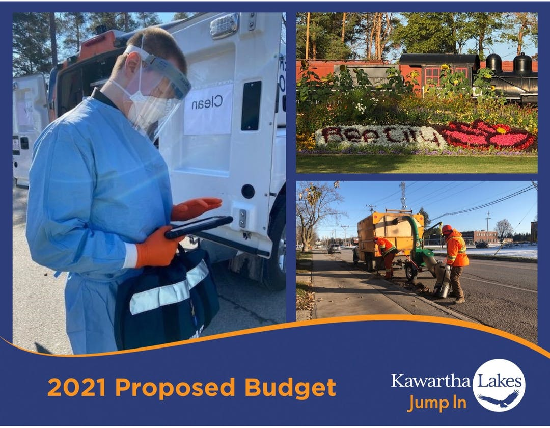 A collage of photos which includes an emergency worker dressed in personal protective equipment reading their notes, a Bee City garden and two municipal workers fixing a pothole in the road.