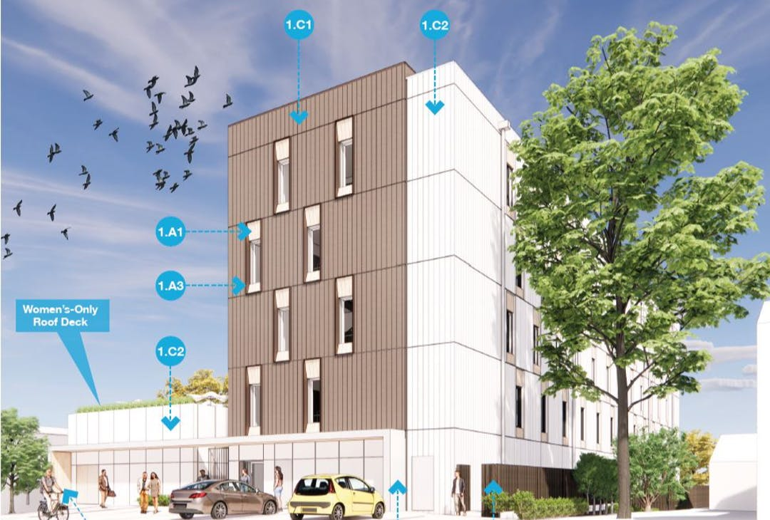 Illustrative rendering of modular housing. With cars and landscaping.