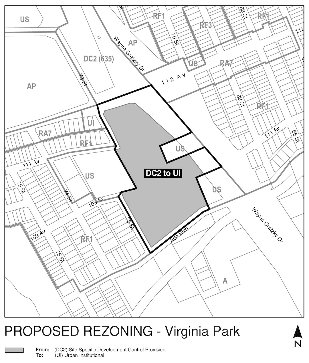 """a black and white map of the area around the property that is proposed to be rezoned (7128 Ada Boulevard), with a grey box on the property, labelled """"DC2 to UI""""."""