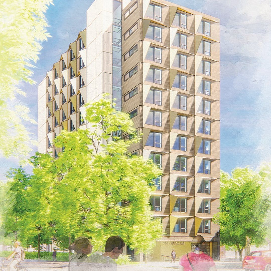 Illustrative Rendering of a multi-unit residential building with trees, and people walking by.