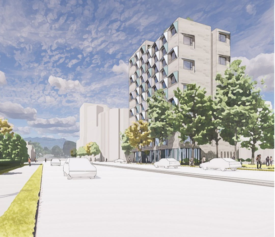 Illustrative multi-storey building rendering, street view with landscaping and people walking by.