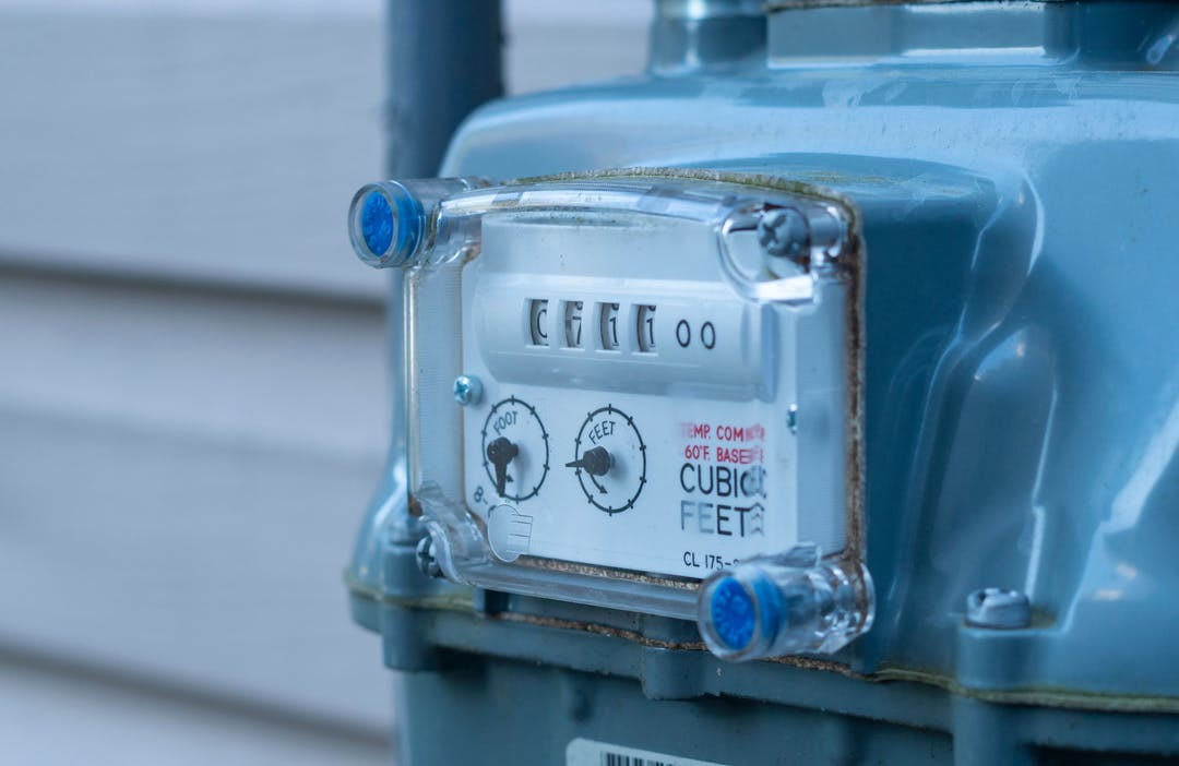 Gas meter on the side of a house