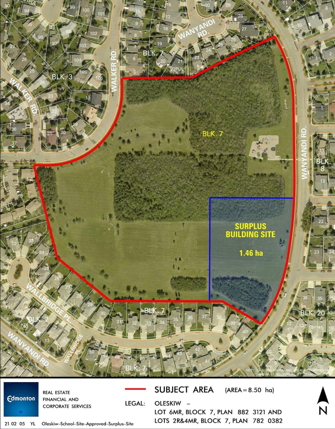 The Location of surplus school site within Oleskiw Park