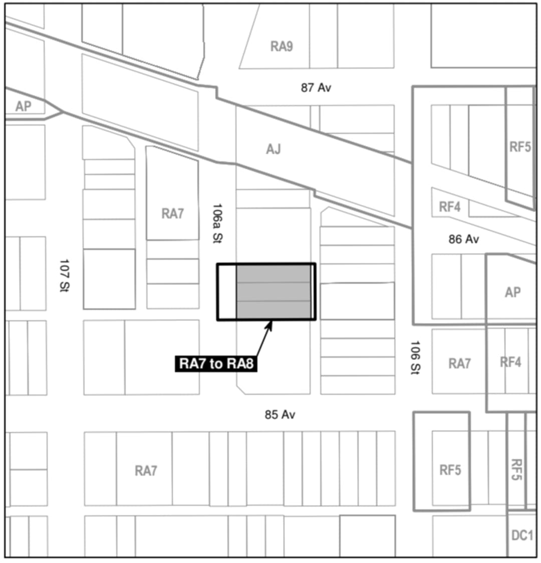 """a black and white map of the area around the property that is proposed to be rezoned (8515 106A Street NW, 8521 206A Street NW, and 8523 106A Street NW), with a grey box on the property, labelled """"RA7 to RA8""""."""