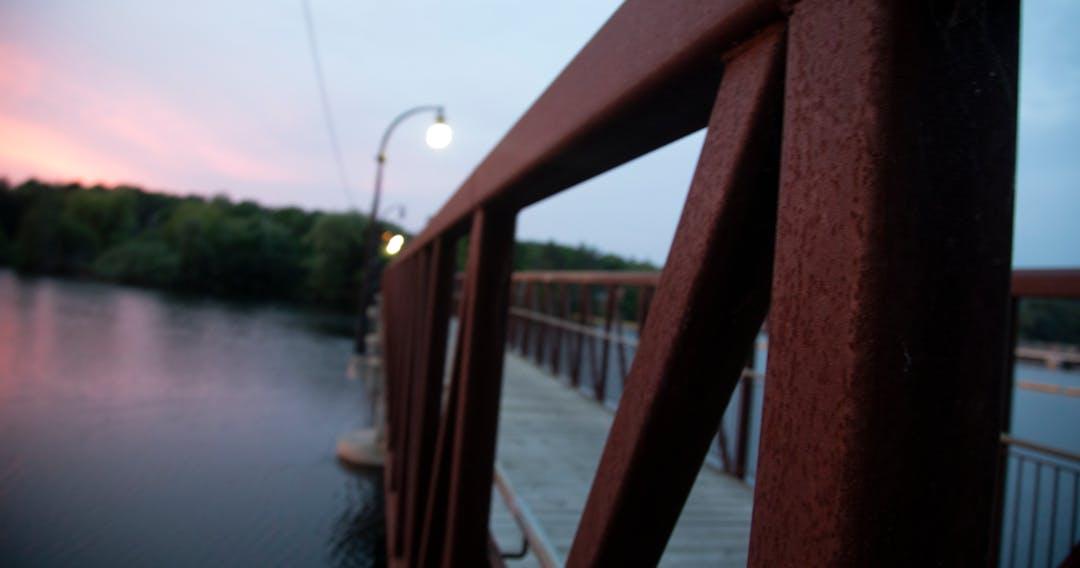 Pedestrian bridge over a river