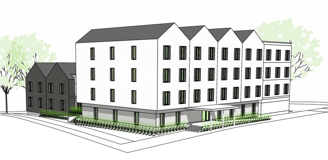 Project illustrative rendering of a supportive housing and shelter.