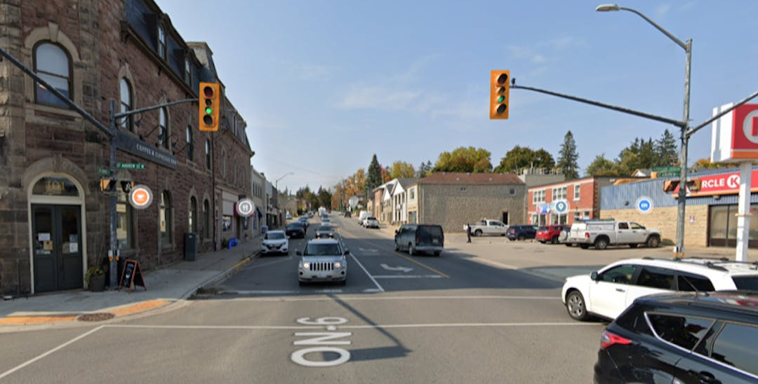 Intersection of St. David Street and St. Andrew Street in Fergus, Ontario