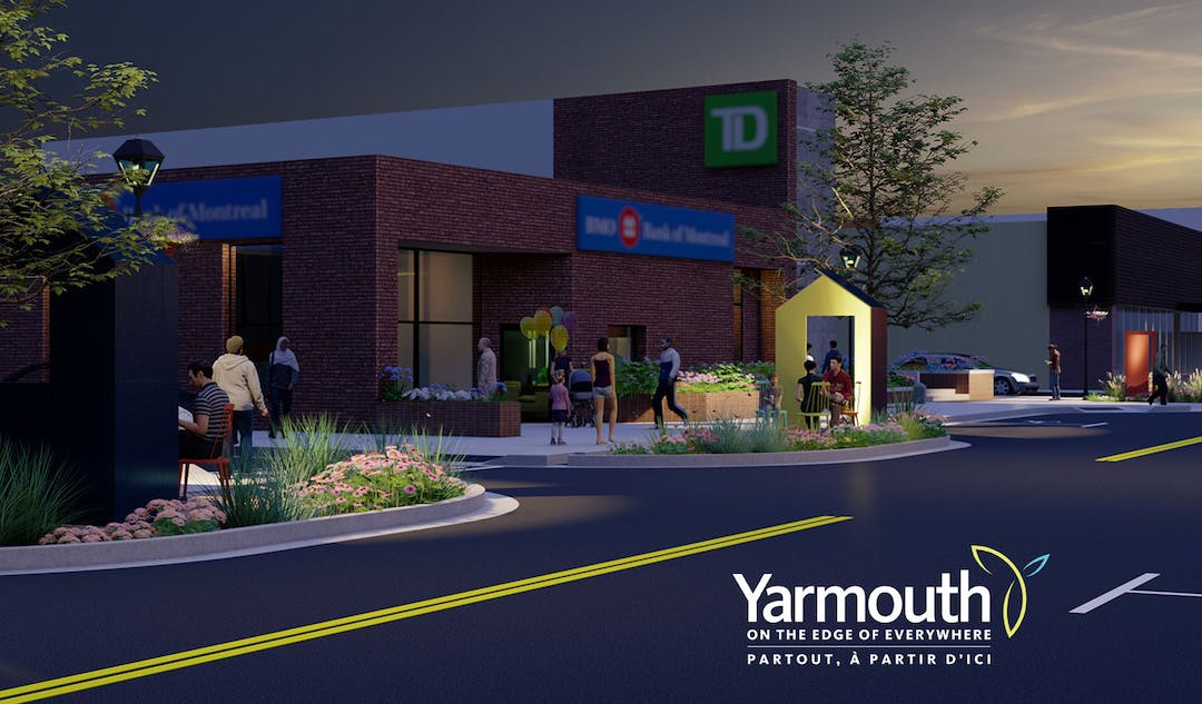 Concept drawing of new streetscape elements that will be installed on Main Street in Yarmouth.