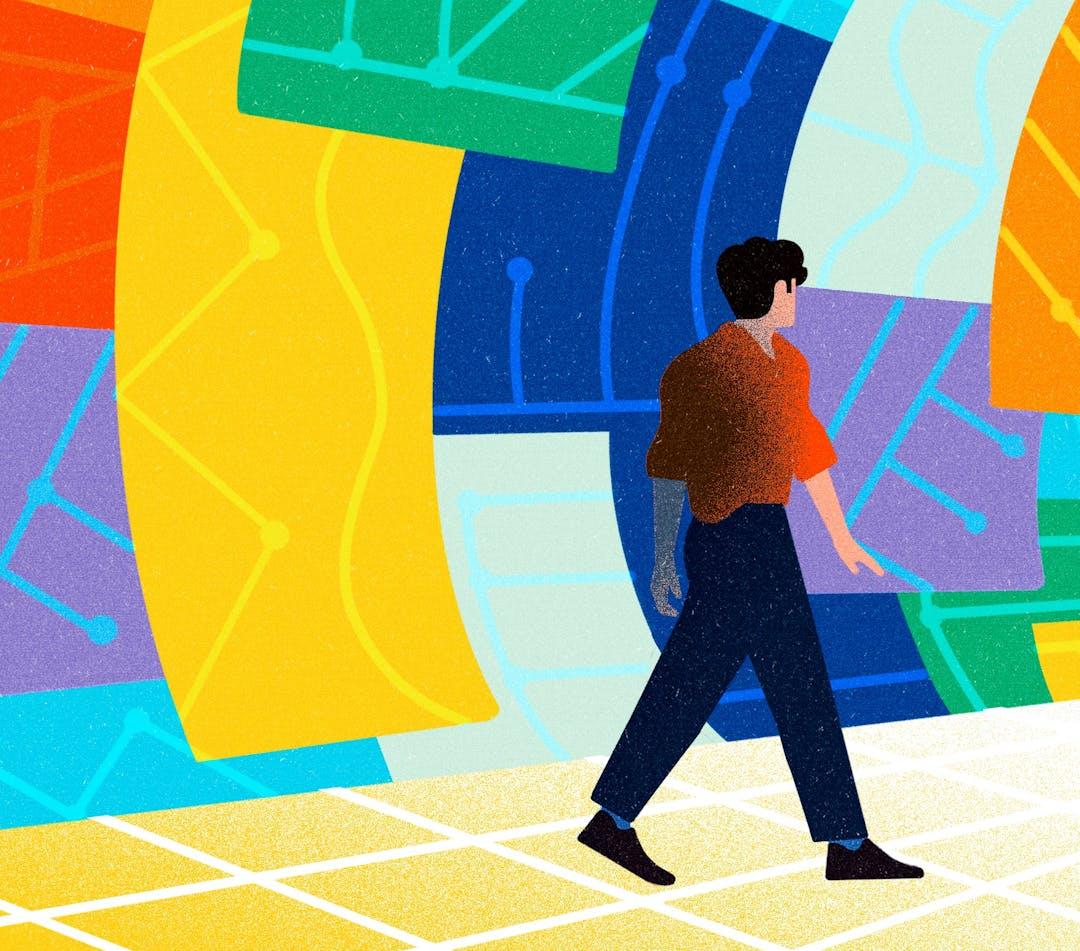 Illustration d'un homme marchant dans un tunnel.