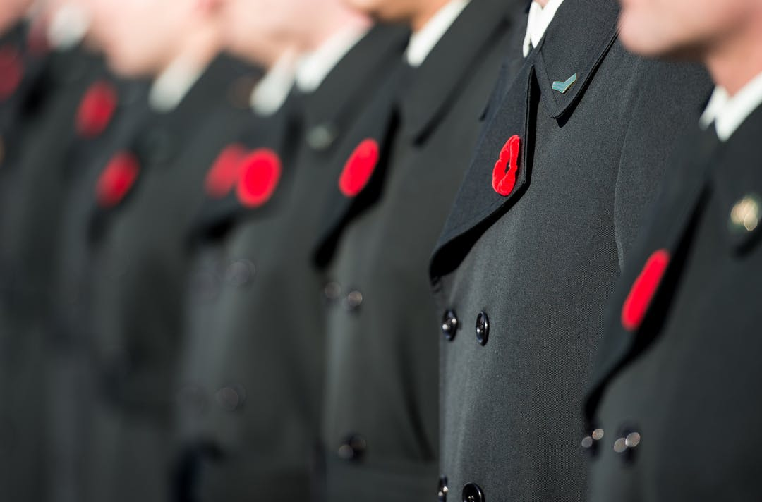Members of the Canadian Armed Forces stand at attention at the Remembrance Day ceremony held at Beechwood National Military Cemetery in Ottawa on November 11, 2019.  Photo: Corporal Tori Lake, Canadian Forces Support Unit (Ottawa) Imaging Services