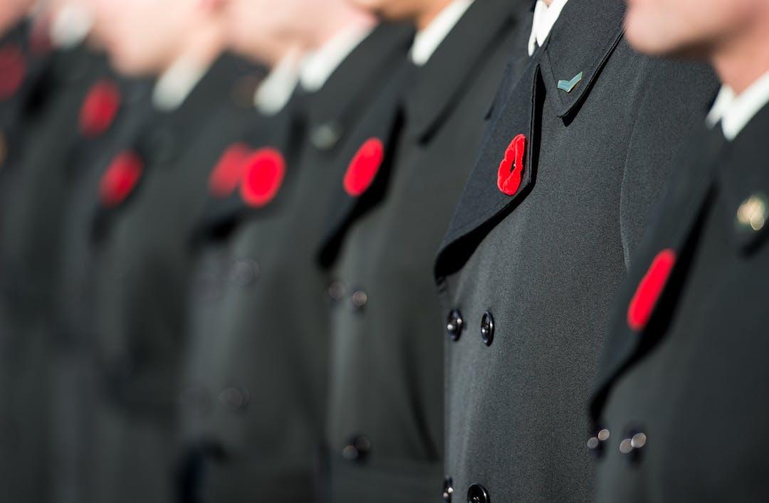 Des membres des FAC sont au garde-à-vous lors de la cérémonie du jour du Souvenir tenue au Cimetière militaire national de Beechwood, le 11 novembre 2019. Photo: Cpl Tori Lake, Services d'imagerie de l'Unité de soutien des Forces canadiennes (Ottawa)