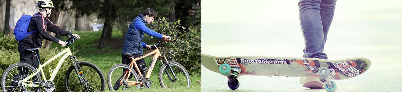 image of two youth kids walking their bicycles through a park, and an image of a skateboard