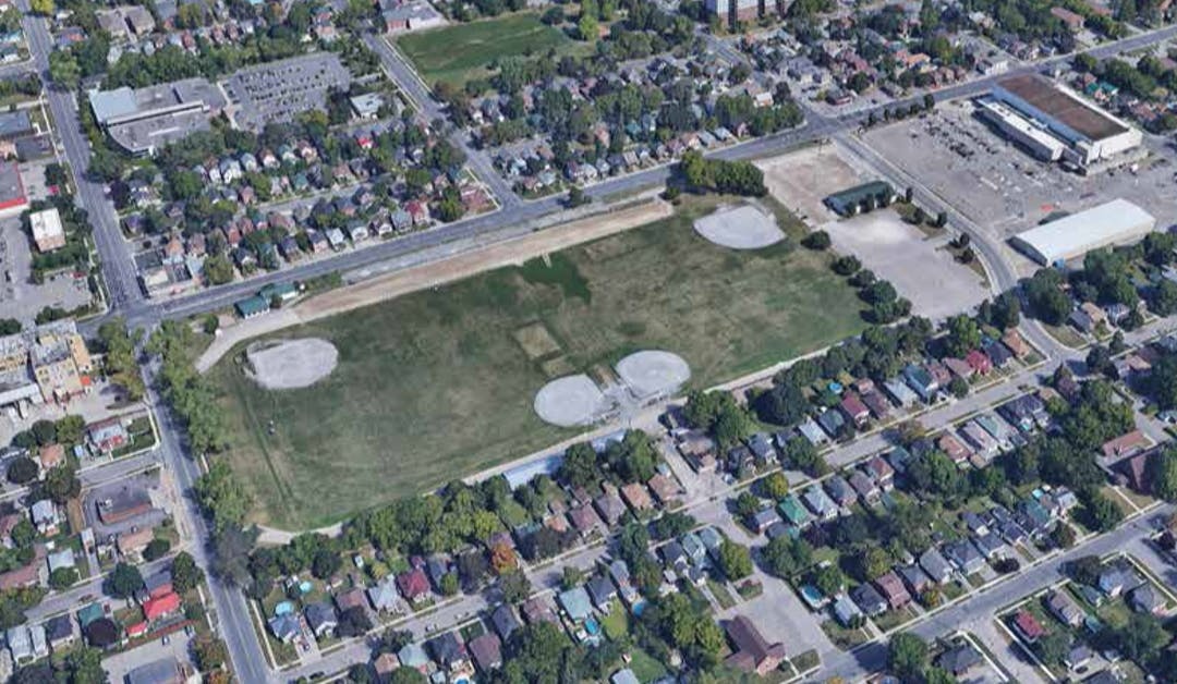 Aerial image of Morrow Park and neighbourhood