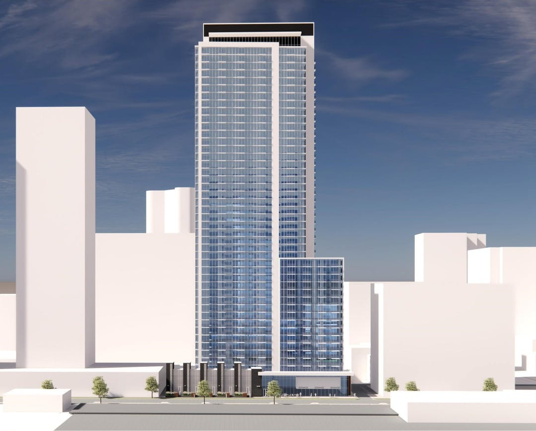 A colour rendering of a proposed tower of approximately 45 storeys in height, shown from a distance near ground level.