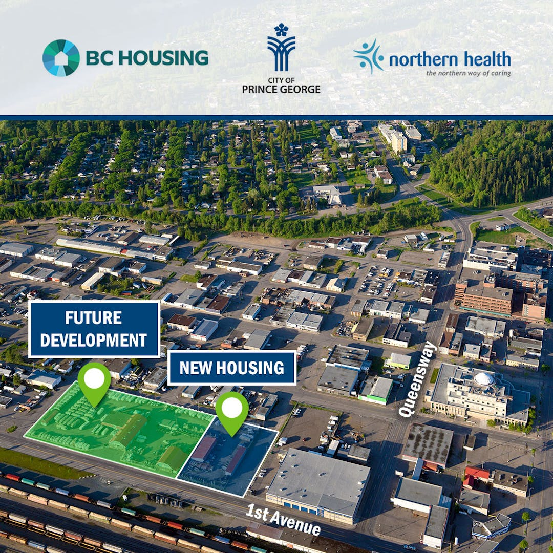 Satellite map view with blocks highlighted for future housing development in downtown Prince George.