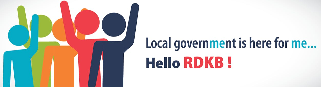 Local government is here for me - coloured stick people with hands up