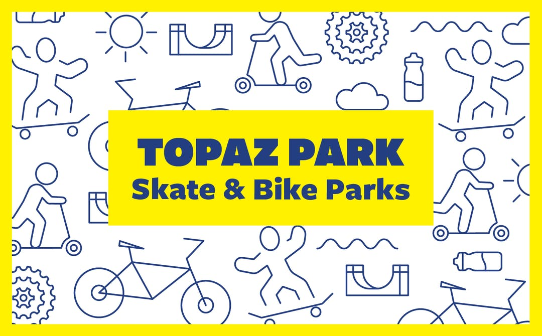 Illustrations of skate and bike icons with the project title in the centre, which reads Topaz Park Skate & Bike Parks.