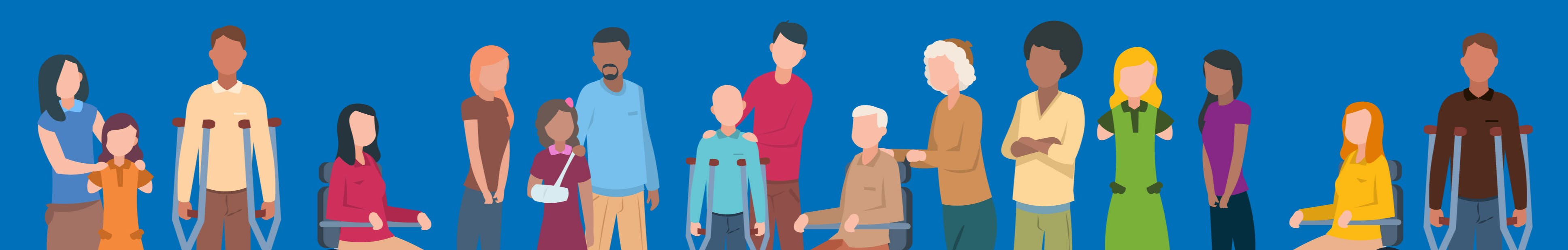 Digital illustration of diverse group of people with disabilities