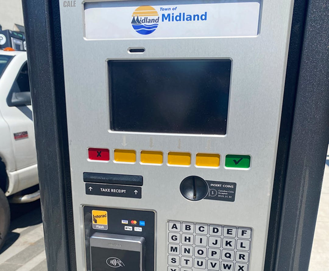 """A new """"pay-by-plate"""" parking system unit recently installed in Downtown Midland."""