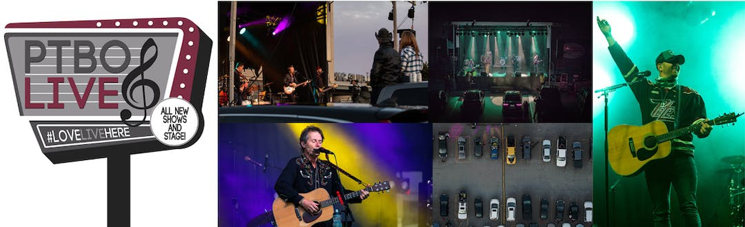 PTBOLive logo with four images from previous drive-in concerts