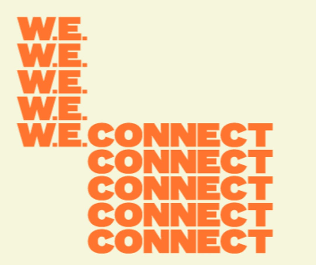 'W.E. Connect' orange text against yellow background. W.E. Connect is the West End Community Hub project slogan for the reimagining process.