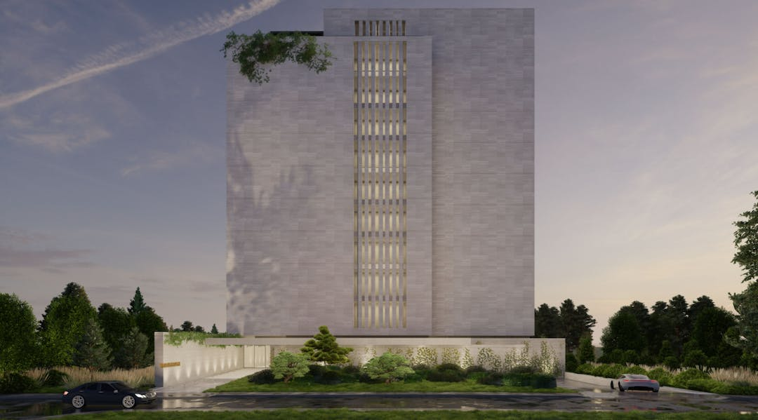 A colour rendering of an 8-10 storey building, looking from a ground level view.