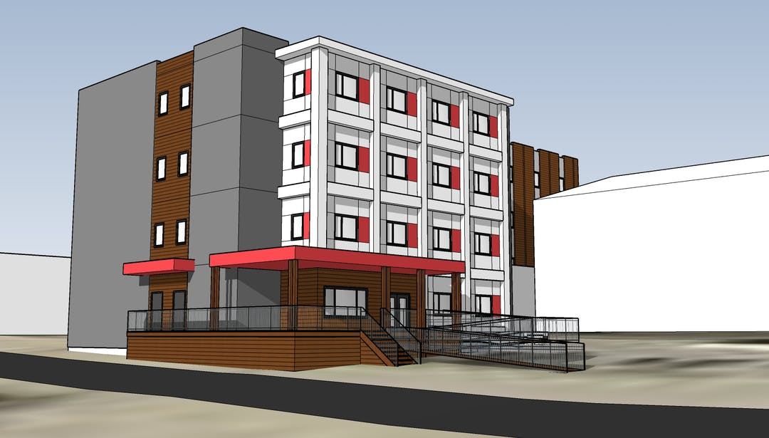A rendering of a four-story supportive housing building.