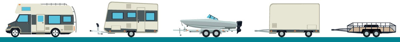 A variety of trailers including a recreational vehicle, camper trailer with hitch, boat on a trailer, and two types of utility trailers.