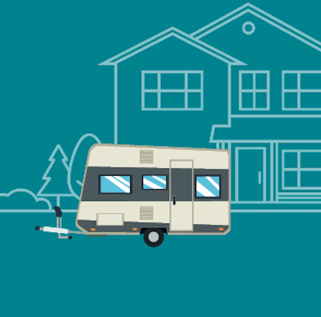 Main image tile featuring a camper trailer with hitch in front of a stylized house.