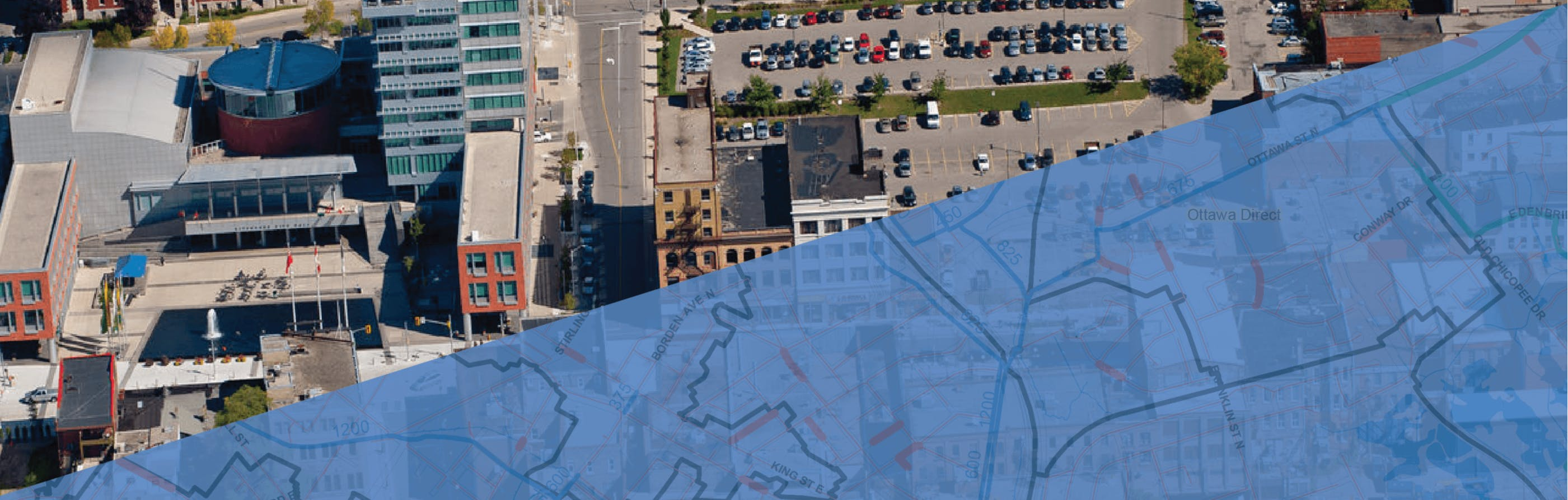 City of Kitchener with sanitary system map overlay