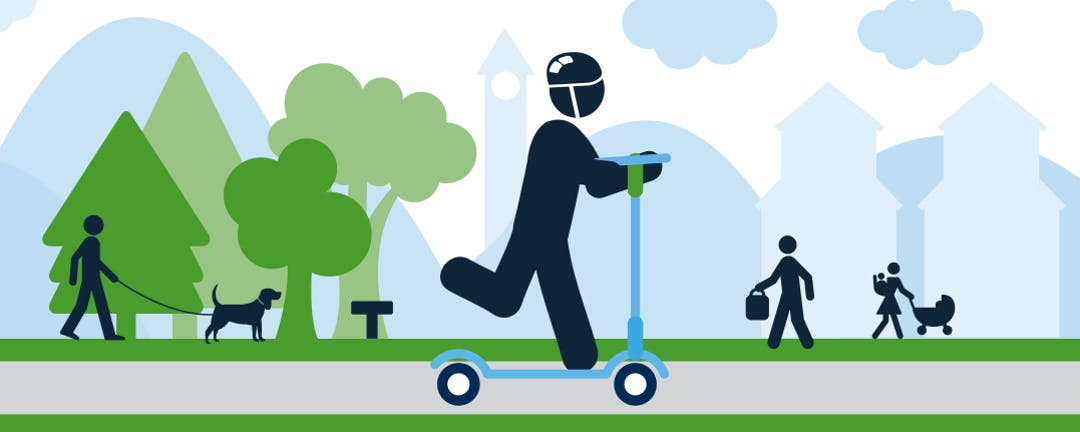 person riding scooter