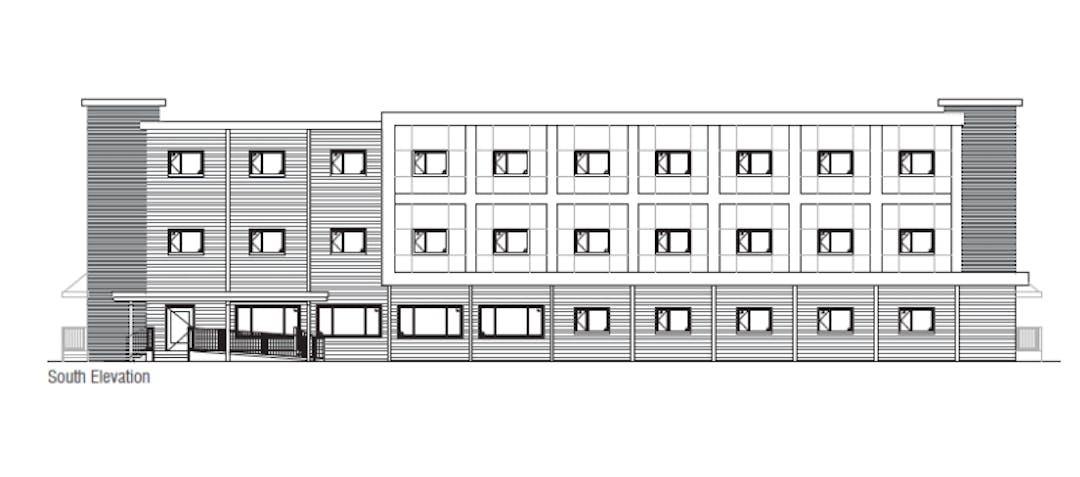 A blueprint sketch of a three-storey housing building.