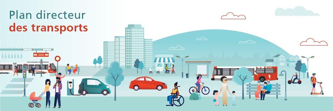 Le logo du projet de révision du Plan directeur des transports montre un cercle avec les flèches cardinales (est, ouest, nord, sud) et des représentations graphiques des différents modes de transport: marche, vélo, train léger, voiture et bus.